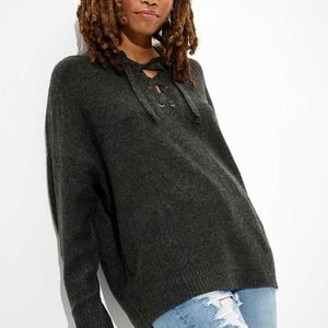 American Eagle Charcoal Oversized Lace Up Sweater